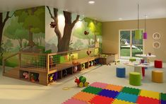 Kids playground design must have safety, goal, and theme. Here are several considerations before constructing a playground. Daycare Rooms, Home Daycare, Playground Design, Indoor Playground, Indoor Playroom, Kids Salon, Daycare Design, Kindergarten Design, Kids Cafe