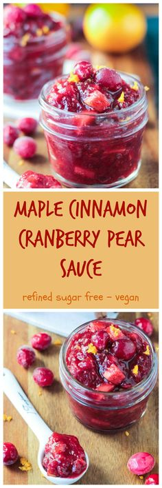 Maple Cinnamon Cranberry Pear Sauce - tangy and a little sweet. This sauce is so easy to make. It only takes about 25 minutes and almost all of that is hands off! You will never go back to the gelatinous canned stuff again! Fall Recipes, Holiday Recipes, Whole Food Recipes, Cooking Recipes, Holiday Meals, Christmas Meals, Pear Recipes, Christmas Recipes, Veggie Recipes