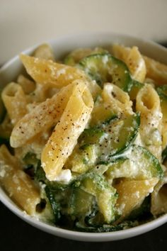 Zucchini Penne with Ricotta and Parmesan, substitute brown rice penne pasta - you'll never know the difference