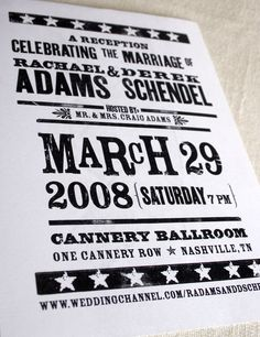 From Etsy: Concert Sign Invite