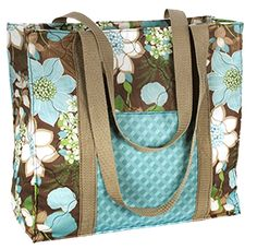 """What a stylish and sturdy tote bag! At 13"""" x 12"""", it's the perfect size to carry all your 'stuff'! Made using the Creative Cuts Wildflower collection available at Walmart stores. Download free sewing instructions for this tote bag on our website.   #Totes #Handmade #DIY #Sewing #Floral #Fabric totebags.png"""