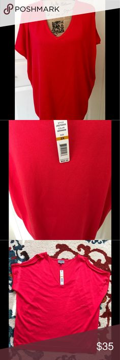 Joseph Allen 3X Red shoulder revealing knit top New with tags. Joseph A. Plus size (3X) knit top. Measurements are in the pictures please don't hesitate with any questions you have. This is a shoulder revealing red knit top, it is a thicker top, would be great going into the fall season. Great top to wear to work, or a weekend with friends. 72% Rayon and 28% Nylon. Joseph Allen Tops