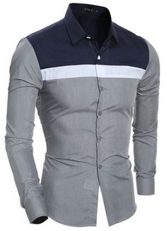 Turn-Down Collar Color Block Spliced Design Shirt African Clothing For Men, African Men Fashion, African Wear, Mens Fashion, Cheap Fashion, Casual Wear For Men, Casual Shirts For Men, Casual Jeans, Polo T Shirts