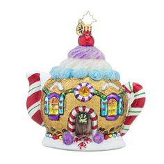 Christopher Radko Sweet Tea Teapot Candy & Gingerbread Themed Glass Christmas Ornament