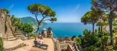 Scenic picture-postcard view of famous Amalfi Coast with Gulf of Salerno from Villa Rufolo gardens in Ravello, Campania, Italy Stock Photo - 48352106 Positano, Oscar Niemeyer, Best European Tour Companies, Italy Vacation, Italy Travel, Italy Trip, Orlando, Best Travel Websites, Europe Holidays