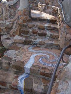 Stone stairwell leading down from labradorite bench. Stone stairwell leading down from labradorite b Mosaic Stairs, Mosaic Walkway, Pebble Mosaic, Stone Mosaic, Mosaic Art, Stair Well, Stone Work, Yard Art, Garden Paths