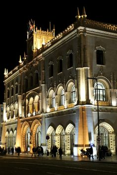 Lisbon: Rossio Train Station at night. #Portugal