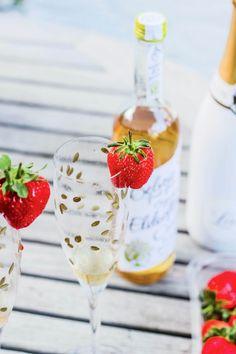 Elderflower + strawberry Lanson champagne cocktail