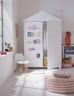 kleiderschrank kinder babyzimmer schrank kiefer massiv wei grau dach schublade kinderzimmer. Black Bedroom Furniture Sets. Home Design Ideas
