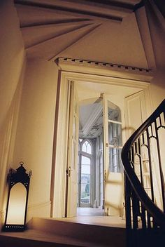 Gothic windows and stair bannister