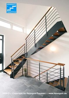 String staircase ATHEN Steps Beech Solid Step material Beech MC solid wood railing type 310 with wooden handrail Wood Railing, Metal Stairs, Staircase Railings, Modern Stairs, Railing Design, Staircase Design, Stairways, Railing Ideas, Barn Renovation