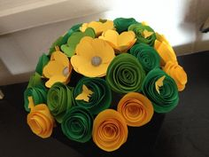 Green & yellow paper flowers