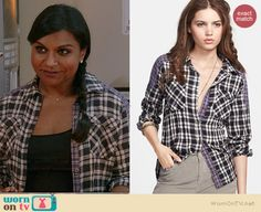 Mindy's black plaid patched shirt on The Mindy Project.  Outfit Details: http://wornontv.net/38198/ #TheMindyProject