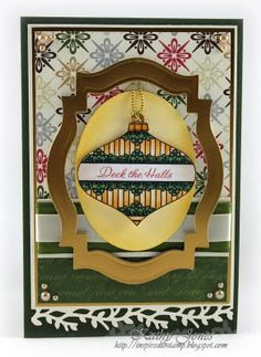 #justrite - Christmas Card designed by Kathy Jones.  Love how she framed the ornament! w/Spellbinders Labels Twenty Two dies