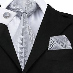 Pocket Square - Woven Jacquard silk in solid light grey Notch jRHQ69