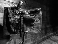 Saddle on display at Historic Walnford, Upper Freehold, NJ. Featured in: *Creative Black and White Fine Arts Photography Fine Art America, Horses, Wall Art, Artwork, Display, Twitter, Instagram, Photos, Art Work