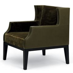 CARAIBE CHAIR from Christian Liaigre Fully upholstered lounge chair with a tightly upholstered back and seat. Decorative seaming on the inside and outside arm panels