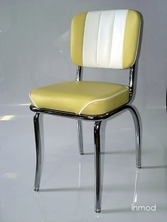 My ideal dining chair. Retro, chrome, yellow and white leather