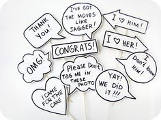 10 Signs Photobooth Props -  Wedding Photo Props Signs with TEXT