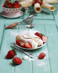 Cannoli with whipped ricotta cream and served with the last of the season's strawberries here in Malta. A recipe for baked, not fried, cannoli - easy and healthier!