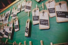 Kraft paper and chalkboard paint on these awesome escort cards!  Photo: Samantha Simmons