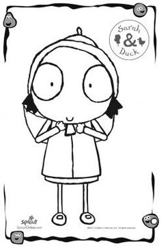Sarah Coloring Page – Sarah & Duck Coloring Pages for Kids | Sprout