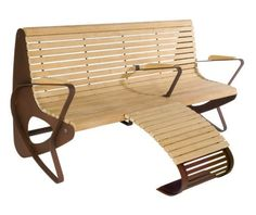 guyon mobilier urbain banc bois allrelax 1015 repose pieds / guyon street furniture ALLRELAX 1015 footrest timber bench
