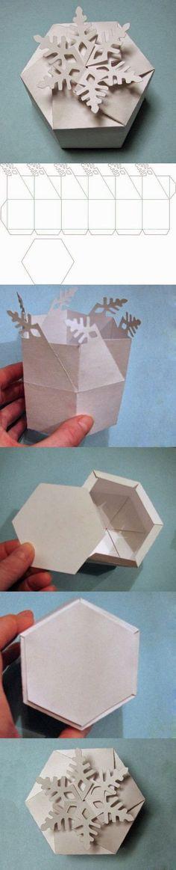 Christmas Ornament Gift box idea - snowflake design