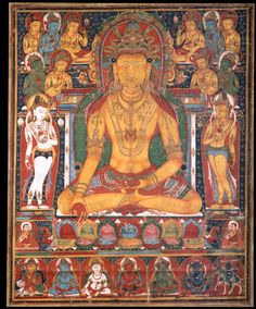 Tibetan Buddhist Thangka, Ratnasambhava, Buddha of the South Tibetan Art, Tibetan Buddhism, Buddhist Art, Buddha Buddhism, Le Tibet, Buddhist Philosophy, Life Philosophy, Mandala, Thangka Painting