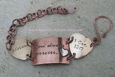 Hand stamped custom personalized mixed metals chunky bracelet. Family names, words, quotes, dates. ID tag style.. $30.00, via Etsy.