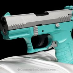 Mobile-friendly version of the 5th project picture. Walther, Handgun, Custom Blue, Ladies, Robin's Egg Blue H-175Q, Crushed Silver H-255Q