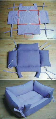 Baby Sewing Projects, Sewing Hacks, Sewing Tutorials, Sewing Crafts, Dog Clothes Patterns, Sewing Patterns, Diy Dog Bed, Pet Beds, Doggie Beds