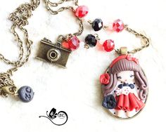 polymer clay necklace /pin-up collection/ fimo / clay / polymerclay