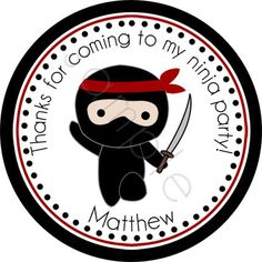 Ninja Personalized Stickers - Party Favor Labels, Address Labels, Birthday Stickers, Ninja, Karate, Martial Arts - Choice of Size. $6.00, via Etsy.