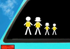 Yellow Vest, Stick Figue Family Car Decal, Yellow Vest Sticker, Alberta Oil, No Carbon Tax Decal Approximately 5 inches Tall. Decal can be used on Family Car Decals, Mermaid Wall Art, How Many Kids, Stick Figures, Transfer Paper, 6 Years, Vinyl Decals, Vest, Oil
