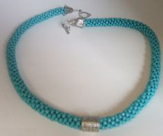 Turquoise color Kumihimo Bead Braided Necklace by FranksStudio, $35.00