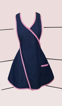 Fun Flirty Blue Denim Apron with red and white checkered trim. The Clara Apron with one double lined pocket - Small Size by on Etsy Clothing Patterns, Dress Patterns, Women's Fashion Dresses, Girl Fashion, Apron Designs, Denim Crafts, Uniform Design, Sewing Aprons, Baby Hats Knitting