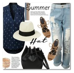"""""""le3no.com"""" by svijetlana ❤ liked on Polyvore featuring LE3NO, Rebecca Minkoff, polyvoreeditorial, summerhat and le3no"""