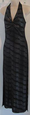 """STUDIO F"" LONG BLACK SATIN HALTER DRESS"