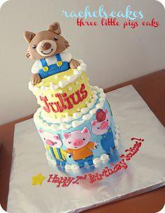 3 Little Pigs Storybook theme Cake + big bad wolf
