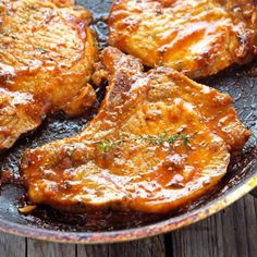 Honey Garlic Glazed Pork Chops - Only 20 minutes stand between you and some of the most finger-licking pork chops ever.