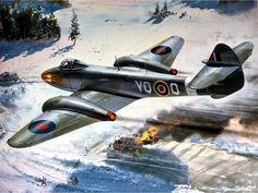 Gloster Meteor Mk lll by Roy Cross. Ww2 Aircraft, Fighter Aircraft, Military Aircraft, Fighter Jets, Gloster Meteor, War Thunder, Airplane Art, Ww2 Planes, Aviation Art