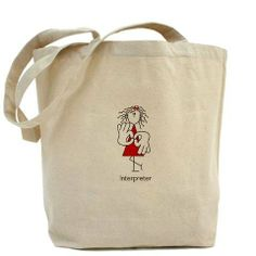 Sign Language Interpreter Asl Tote Bag by CafePress by CafePress. $18.00. Great for the Interpreter on the go. About our Tote Bag: Our 100% cotton canvas tote bags have plenty of room to carry everything you need when you are on the go. They include a bottom gusset and extra long handles for easy carrying. 10 oz heavyweight natural canvas fabric. Full side and bot. Asl