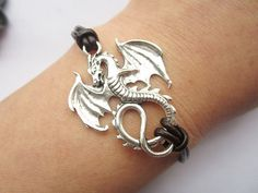 Braceletantique silver dragon & brown leather chain by lightenme