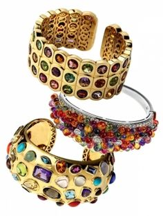 colorful stone bangles and cuffs