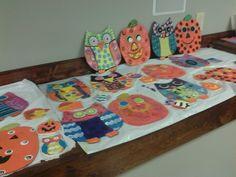 Art lesson owls & pumpkins! As original as each little artist.