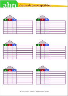 Método ABN. Casitas de descomposición para números de tres cifras Math School, 2nd Grade Math, 1, Study, Math Math, Multiplication, Education, Blog, Advent Calendar