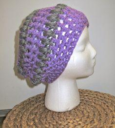 Crochet Beanie: lavender w/ gray stripes