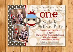 Sock Monkey Invitation  Brown & Red by thelovelyapple on Etsy, $15.00