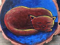 Another little painting on sassafras wood. Inspired by my sleeping cat I painted on the red piano.  #cat #art #painting